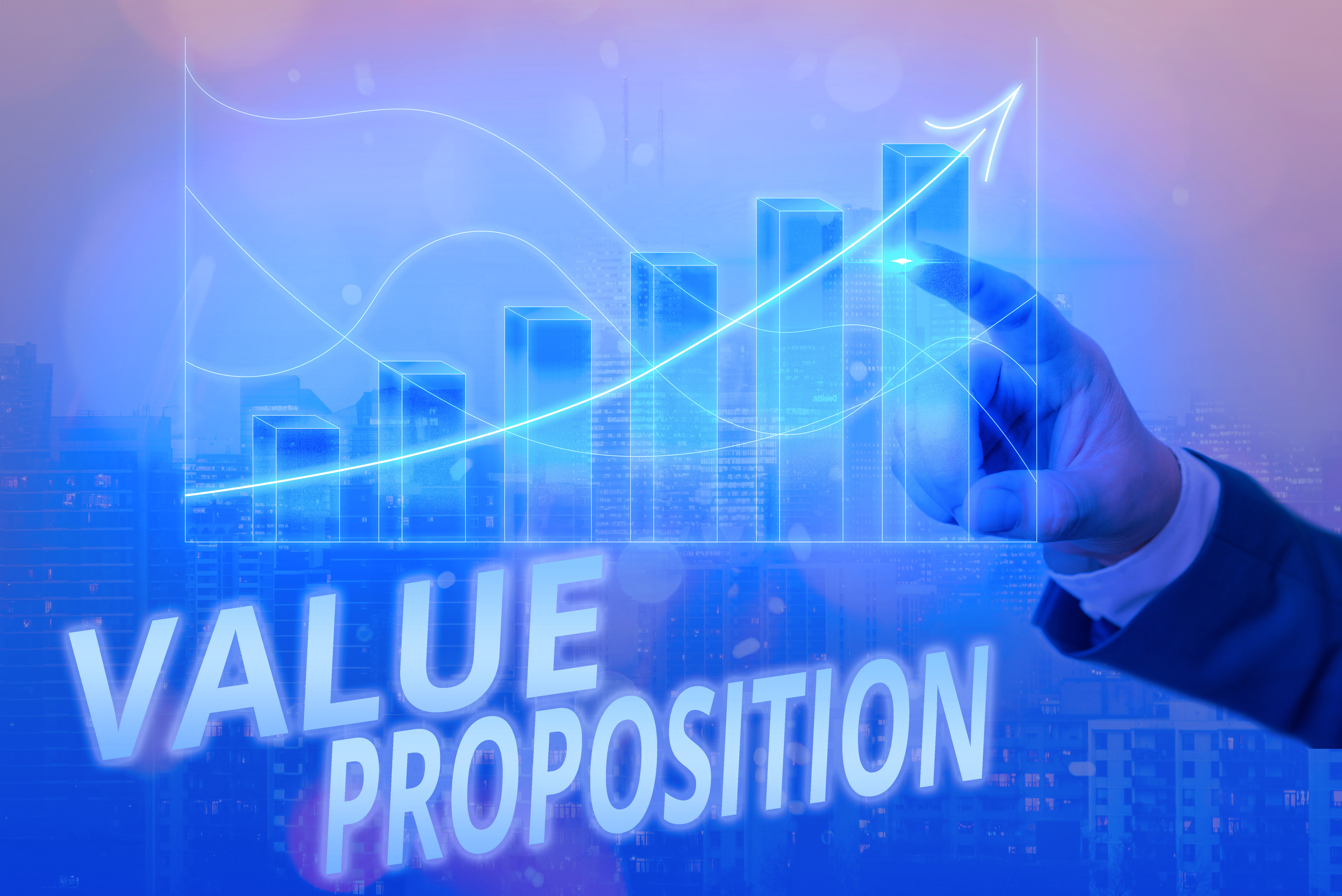 Writing note showing Value Proposition. Business concept for feature intended to make a company or product attractive Arrow symbol going upward showing significant achievement